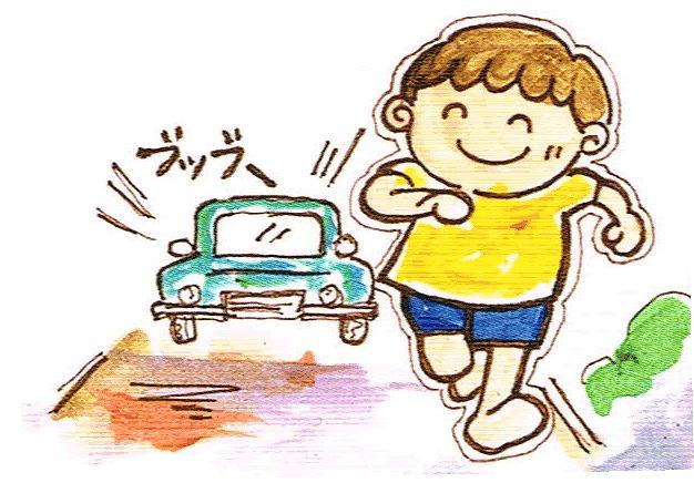 自動車などおかまいなしに駐車場や道路に飛び出して行く。